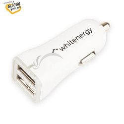WE auto adaptér 2x USB 5V 2400mm Blister White
